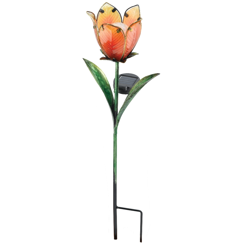 Regal Art and Gift Solar Light Tulip Floral Patio Garden Stake Yellow/Orange at Sears.com